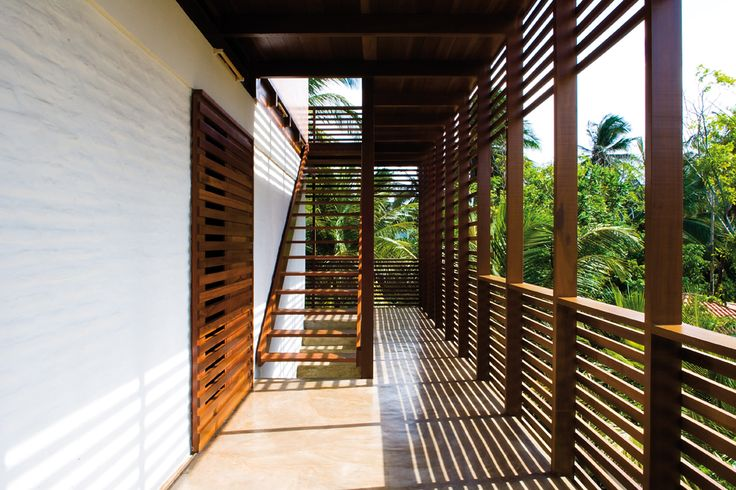 Tropical verandah with slats to create breeze