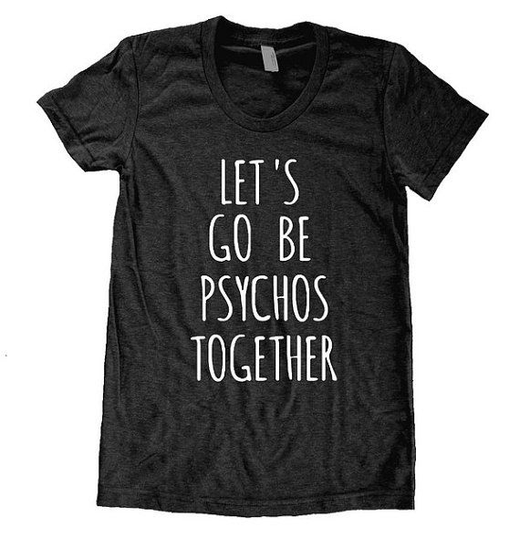 Let's Go Be Psychos together Ladies American Apparel Tri Blend screenprint Track Tee Shirt the perks of being a wallflower