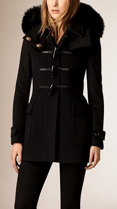 Noir Duffle-coat en laine avec bordure en fourrure de renard - Image 1