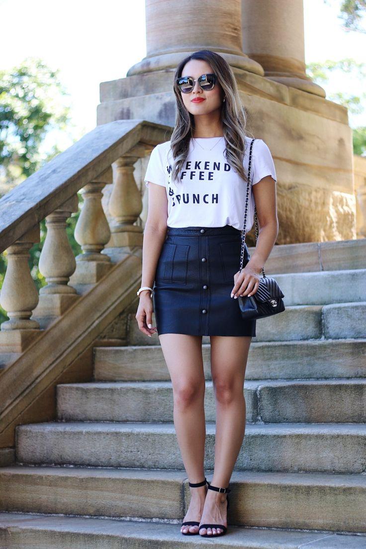 A wardrobe staple: Aje leather skirt