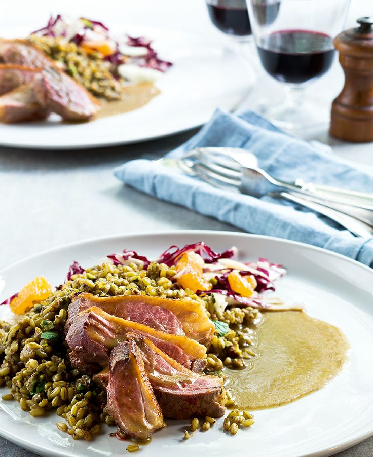 Duck breast with pistachio freekah and fennel and raddichio salad | #inthemixcookbook