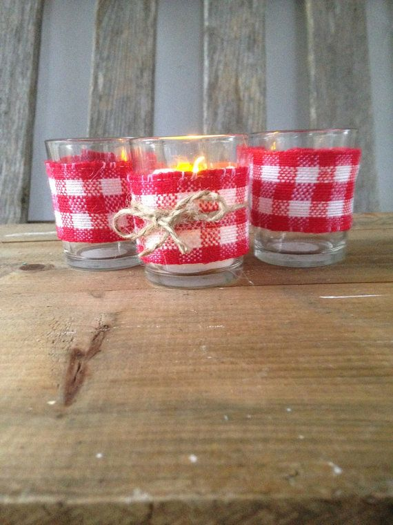 Wedding favor votive candle holders red white check gingham , country rustic,  bridal shower favors patio decor,  picnic theme made to order