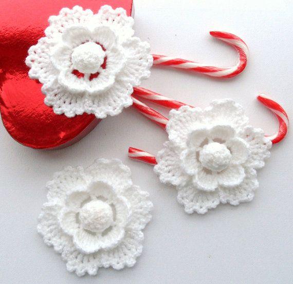 Crochet Christmas Ornament, Holiday Decoration Snowflake White Flower Applique - Set of 3