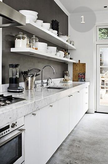 kitchen inspiration: chunky marble, cement floors, zinc paint, white wood work, chrome