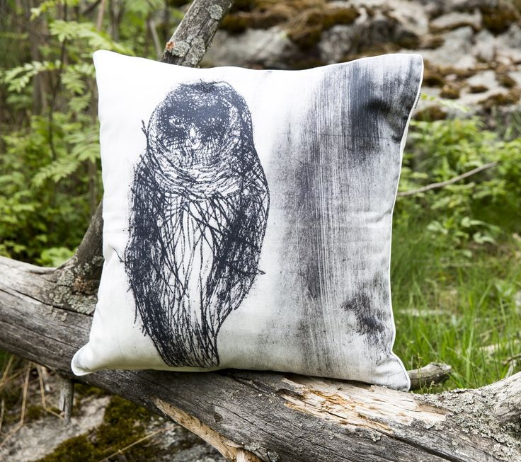 Fauna Cushion Cover Owl | Gorgeous Finnish animal figures decorate Fauna pillow cases designed by Lasse Kovanen.