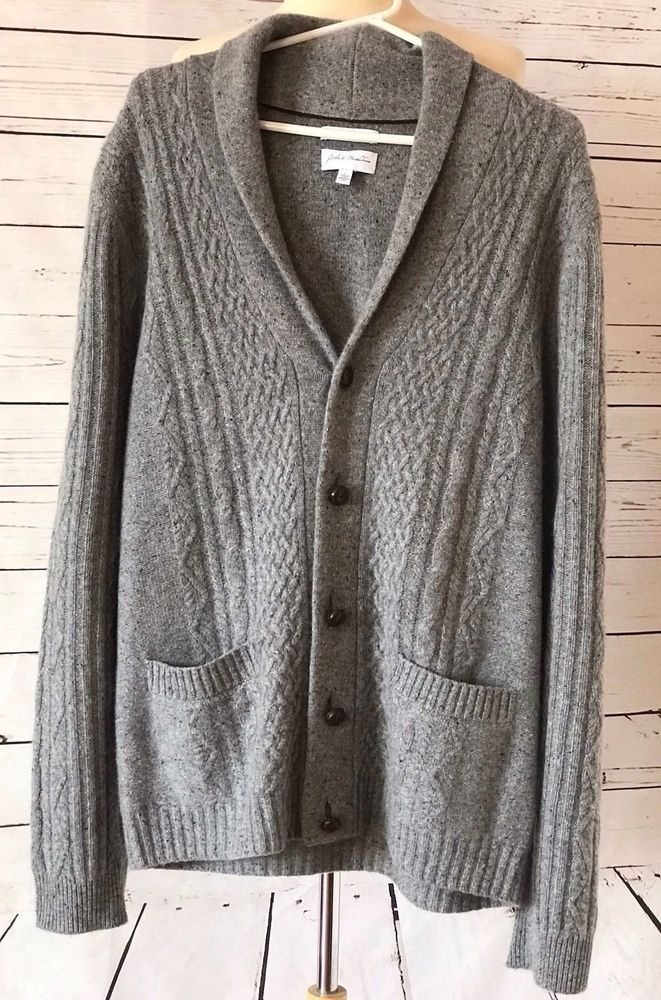 John W Nordstrom Mens 100 Cashmere Cable Knit Cardigan Sweater L