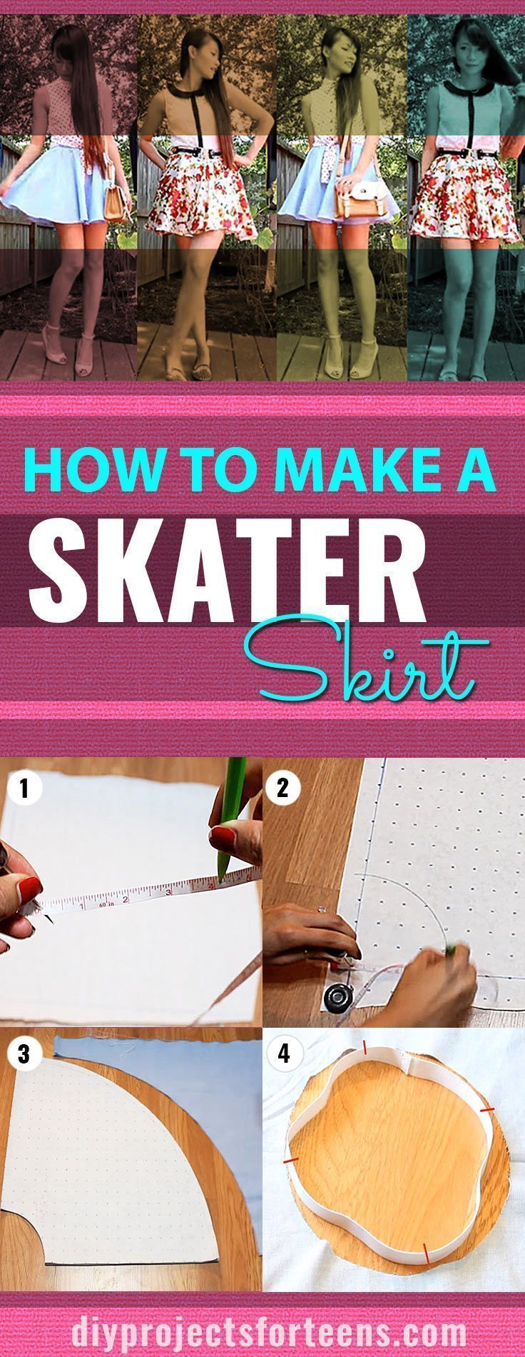 Sewing crafts for teens - Diy Fashion For Teens Cool Skater Skirt Tutorial Shows You An Easy Sewing Idea For