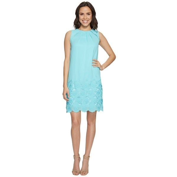 Tahari by ASL Floral Embroidered Hem Shift Dress (Beach Glass Blue)... ($158) ❤ liked on Polyvore featuring dresses, boatneck dress, beachy dresses, beach dresses, blue beach dress and pintuck dress