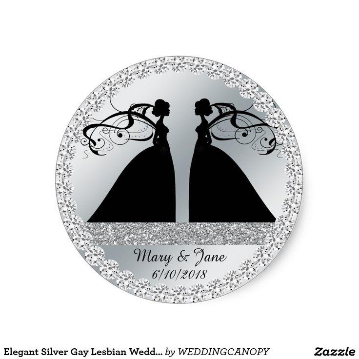 zazzle wedding invitations promo code%0A Elegant Silver Gay Lesbian Wedding Sticker