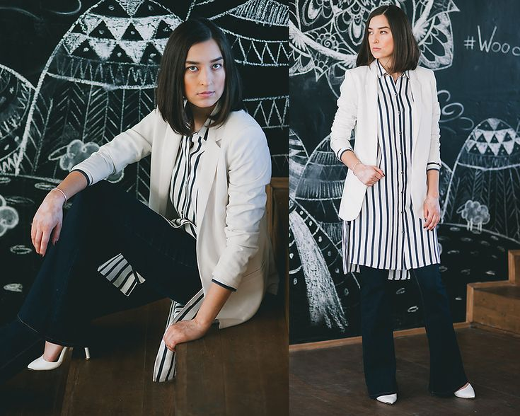 white blazer, flare jeans, white stripe long shirt, look, outfit, street style, russia