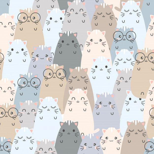 Seamless Pattern Cute Cat Cartoons Cute Patterns Wallpaper