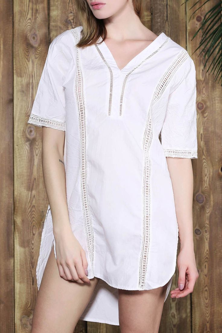 Brief White V-Neck Half Sleeve Blouse For Women #CLICK! #clothing, #shoes, #jewelry, #women, #men, #hats, #watches