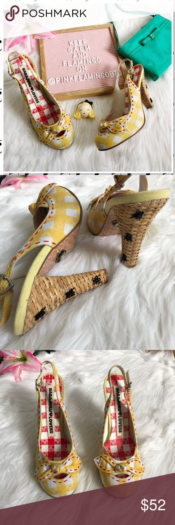 "NEW Harajuku Lovers Japan Basket Libby Picnic Heel NWOT Harajuku Lovers Japan Basket Libby Picnic Heels. Time to ring in spring with the perfect heels for a picnic! Yellow gingham plaid Slingback heels with red topstitching, tied bow on the vamp, 'basket weave' heel, Heart shaped sling back buckles, and tiny ants crawling up the heels. New without box, no flaws. Photos are best descriptors. Retails $149 3"" Heel Harajuku Lovers Shoes Heels"