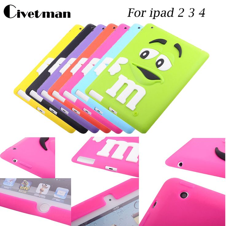 Civetman case for ipad4 tablet accessories fashion cartoon with MM rainbow beans silicone case cover for apple ipad2 / ipad3 #Affiliate