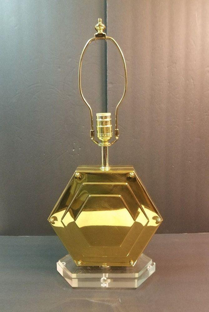 contemporary modern brass metal lucite hexagon table desk lamp light rh pinterest com