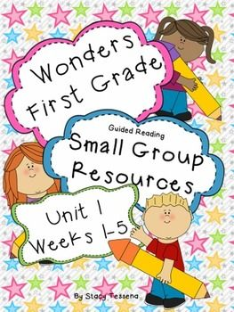 These pages are designed to accompany the small group section (guided reading section) of the First Grade addition of McGraw-Hill Reading Wonders for Unit 1 (Weeks 1-5).  Each weeks lesson has 4 days worth of resources and covers ALL  3 groups- approaching, on level and beyond.