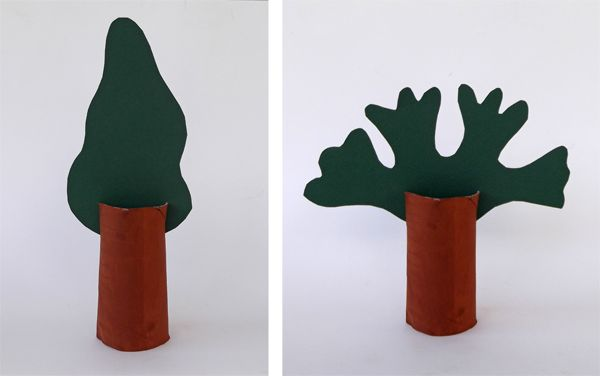toilet paper roll trees: Experimenting with the shape of the tree top. The chilld is encouraged to look around for trees and observe their shapes.