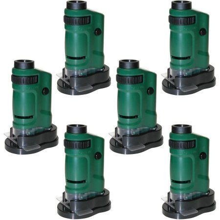 6pk Carson MM-24 Microbrite 20x-40x Zoom Pocket Microscope with Built-In LED, Green