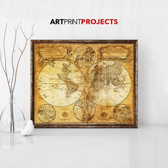 World Map Poster Rustic Vintage Style world map poster