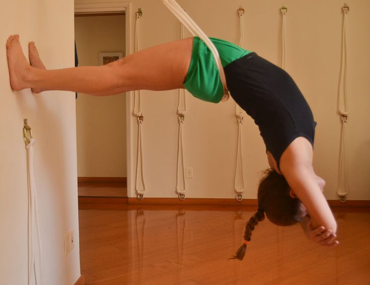 Iyengar-style backbend in the wall ropes. Love this!