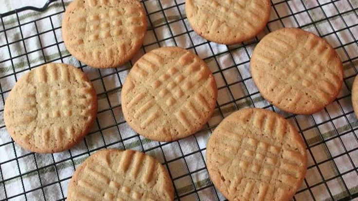 Classic Peanut Butter Cookies Recipe:   Ingredients (makes about 24): 1/2 cup unsalted butter 1/2 cup creamy peanut butter 1/2 cup white sugar 1/2 cup packed brown sugar 1 egg 1 1/4 cups all-purpose flour 1/2 teaspoon baking powder 1/2 teaspoon kosher salt (or 1/4 tsp fine table salt) 1/2 teaspoons baking soda *Bake at 375 degrees F. for 10 minutes