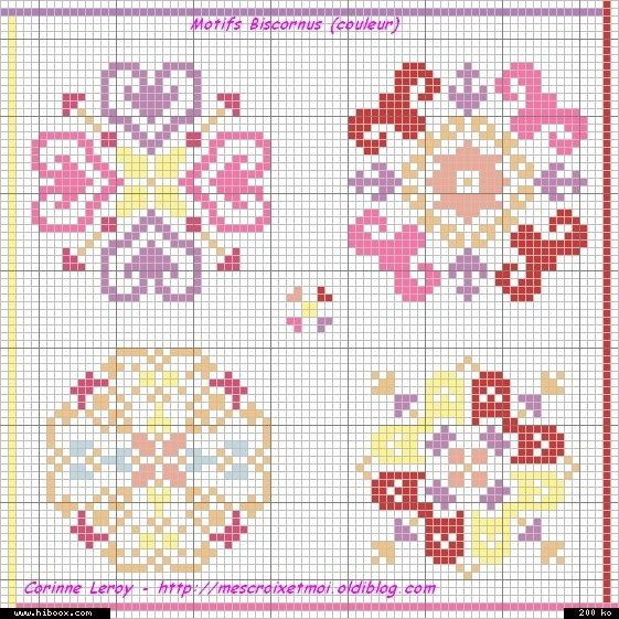 Cross Stitch Biscornu... no color chart available, just use pattern chart as your color guide.. or choose your own colors... .. Found on mes-croix-et-moi.over-blog.com