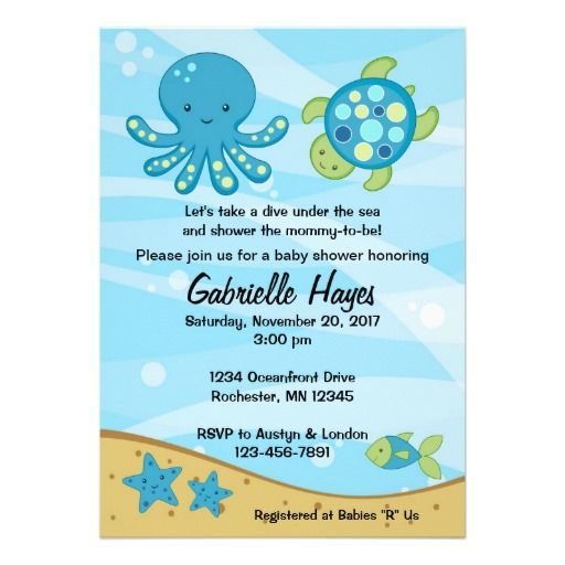 Under the Sea Blue Baby Shower Invitations
