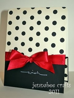 Classy! Knowing me I will end up using earth tones though :) I like the lettle polka dot part on the inside of the card!