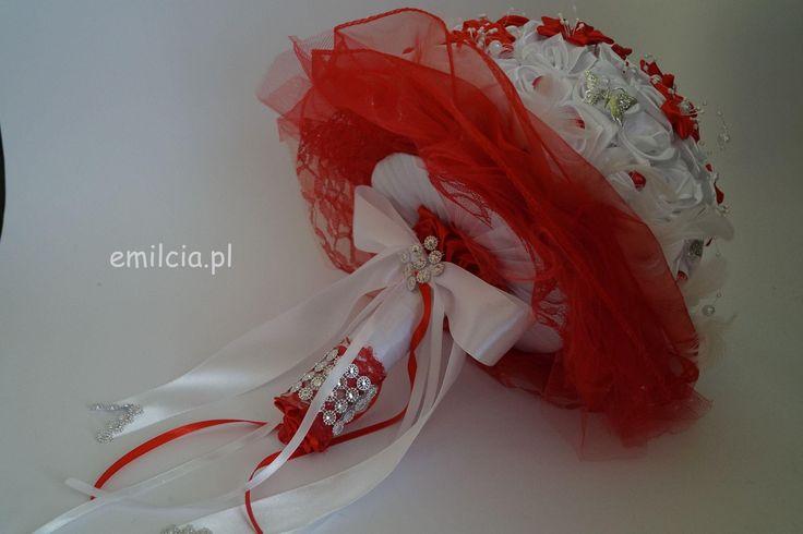 Bukiet Ślubny w Czerwieni i Bieli ze srebrem wykonany na zamówienie Pani Anii  :) Ślub Bukiet Bukiety Dodatki Ślubne dekoracja Młoda Para Bukiet prezentuje się bardzo ładnie i szykownie. Weeding Wiązanka