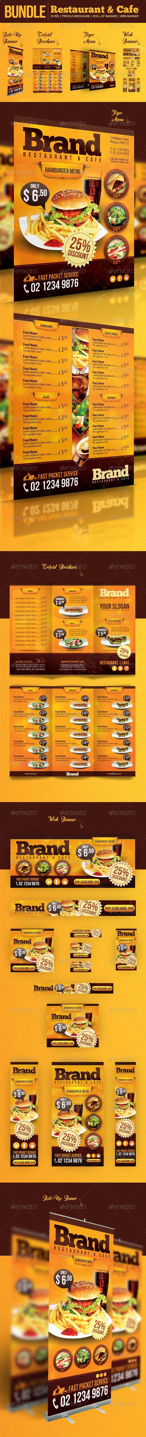 Restaurant & Cafe Bundle Trifold Brochure Restaurant Cafe Menu PSD Template Restaurant Menu Flyer Food Web Banners & Advertise – PSD Templates Restaurant | Cafe Roll Up Banner