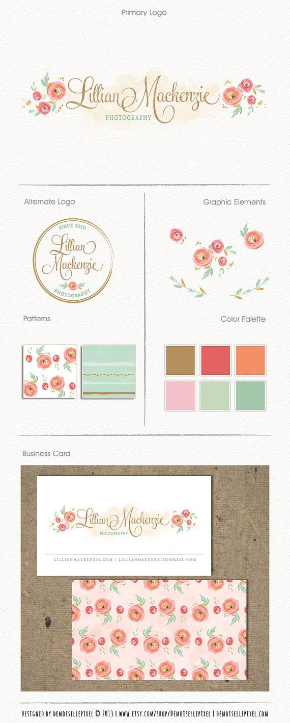 Hand Drawn Brand Identity Package with Business by Demoisellepixel