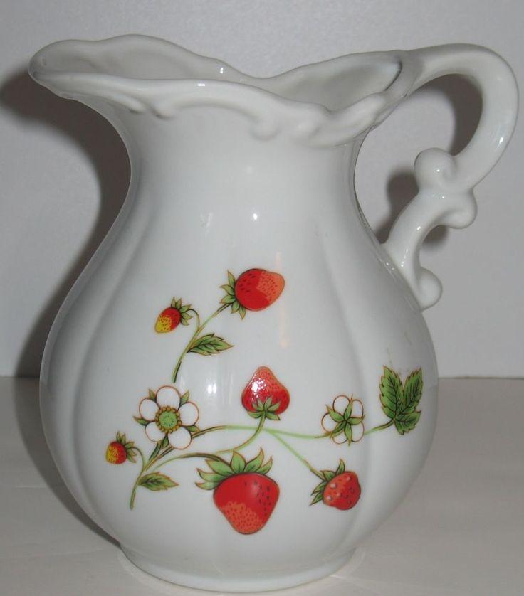 EBAY CLEARANCE SALE: Small White Vintage Strawberry Jug Pitcher Scalloped Edge OMC MOC Japan #MOCJapan