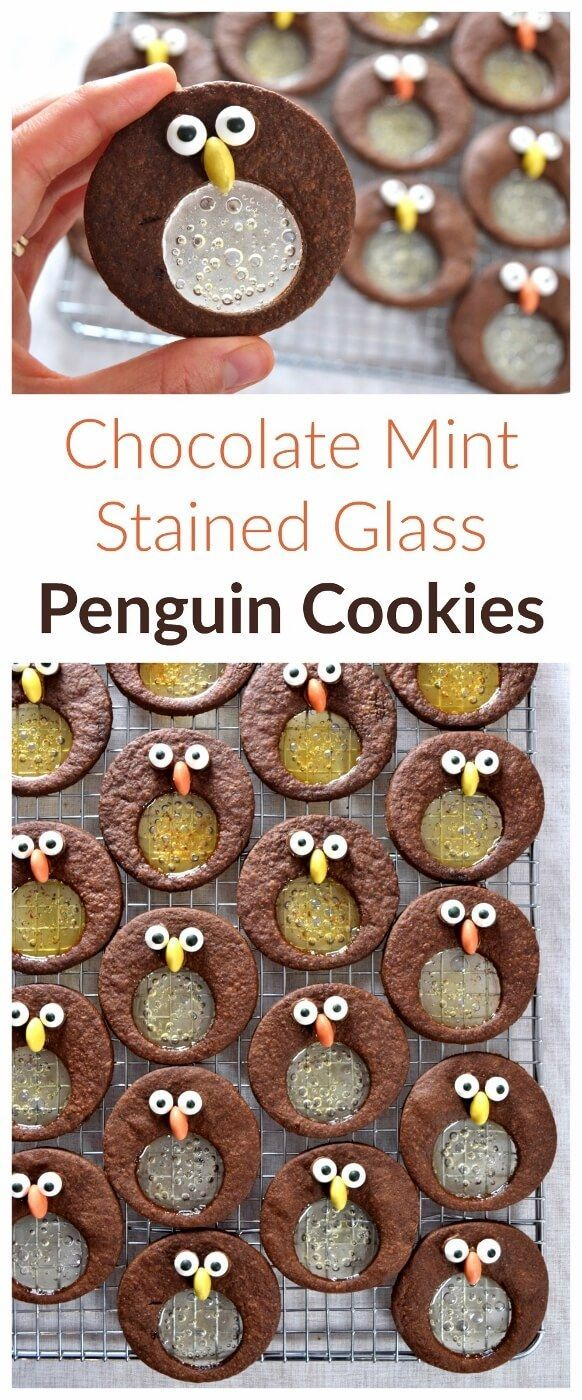 Cute chocolate and mint penguin stained glass cookies recipe - fun food idea for kids this Christmas - Eats Amazing