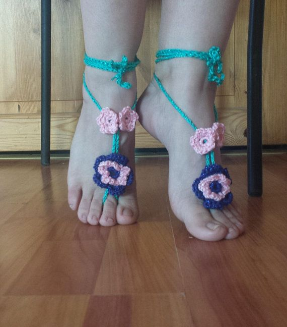 Hand Accessory SUMMER CROCHET NUDE Shoes Feet Accessory Foot Thongs Bridal Shoes Summer Barefoot Sandals Beach Sandals Hipster Wear
