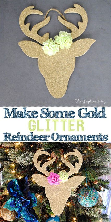 reindeer glitter ornament craft -  Wooden Reindeer Cut outs from Michael's Crafts  Gold Spray Paint  Gold Glitter Glue  Craft Flower Embellishments  Hot Glue Gun -