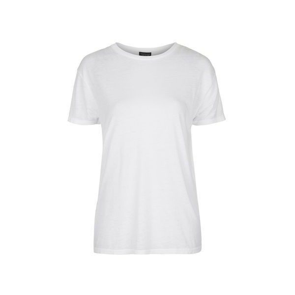 TopShop Washed Burnout Tee ($23) ❤ liked on Polyvore featuring tops, t-shirts, white, topshop, burnout tee, polyester t shirts, white top and white burnout tee