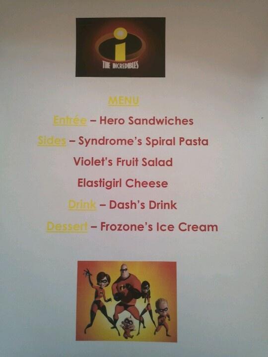 Disney Family Movie Night - The Incredibles menu