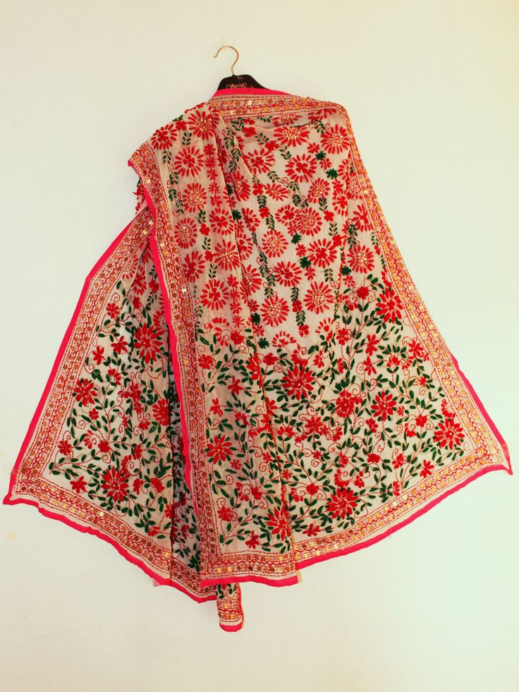 Red and Green Phulkari embroidered White Dupatta