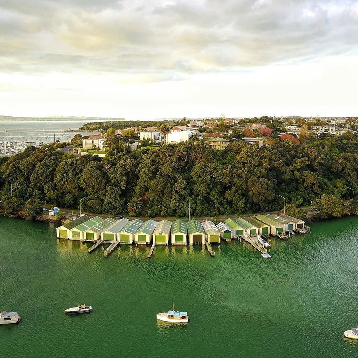 I've looked at these boatsheds for 25 years from my family home but I've never seen them from this perspective! Totally obsessed with our #djimavicpro drone  - @theglobalcouple on Instagram