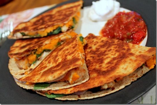 chicken & sweet potato quesadilla - huge hit. Don't skip the onion part, it makes a difference. This meal is now on regular rotation at our house.
