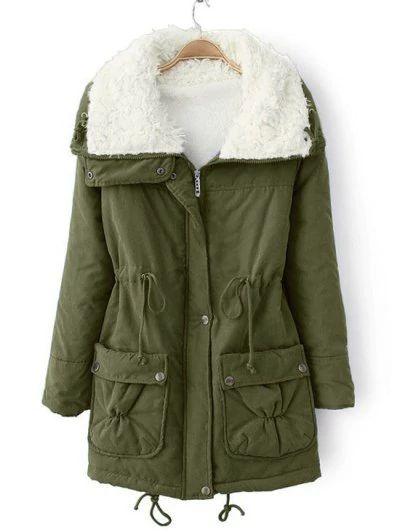 Faux Pockets Zip Up Shearling Coat - Army Green M