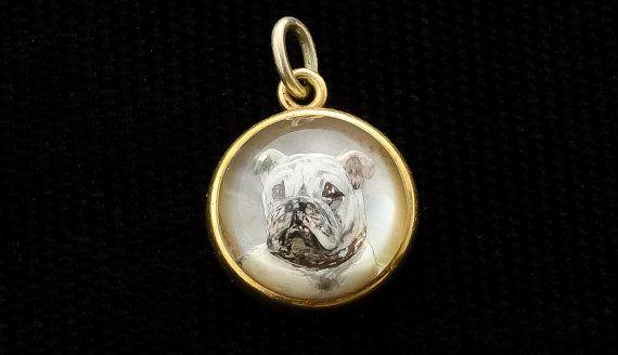 Vintage Antique Tiffany Co Bulldog Essex Crystal Pendant
