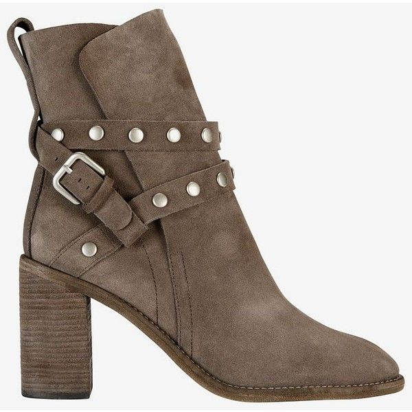 See By Chloe Studded Strap Stack Heel Suede Boot: Grey ($485) ❤ liked on Polyvore featuring shoes, boots, ankle booties, grey, suede boots, gray suede boots, flat suede boots, flat boots and suede booties