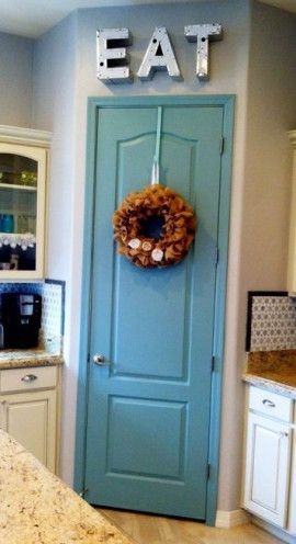 Pantry Door Idea | tamcam10 | Blue Painted Door | DIY | New House | Walk in Pantry |