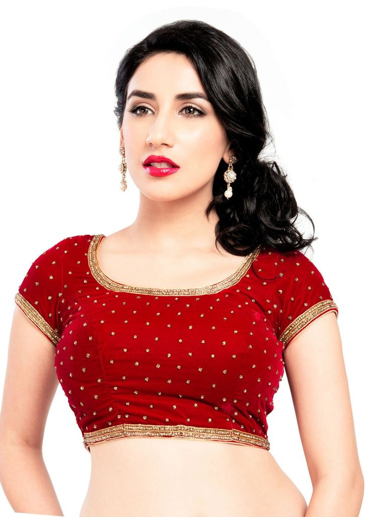 Classic Red Velvet Party-wear Saree Blouse KP-87 One of our favorite designs...A classic and traditional velvet blouse with diamond embellishments woven all over. It's simple yet exquisite pattern mak