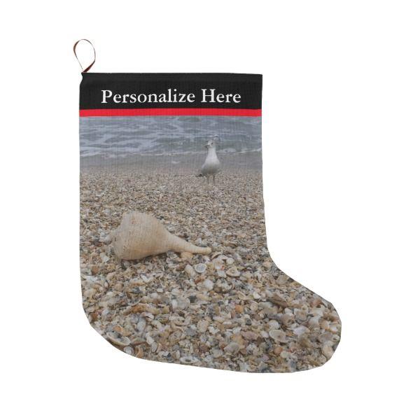Seashells and Sea Gulls Large Christmas Stocking #stocking #christmas #sock #xmas