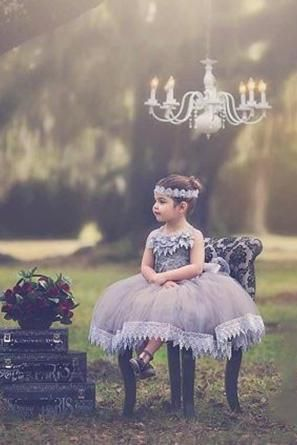 Grey Ball Gown Flower Length Puffy Lace Tutu Birthday Party Flower Girl Dresses