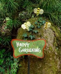 Hand Painted Garden Sign Happy Gardening With 3 Bee Spray. Recycled Metal  Ready To Place