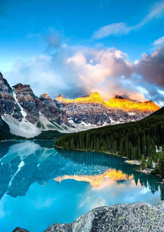 Sunrise over Moraine Lake Banff National Park, Alberta Canada By Wengeshi.