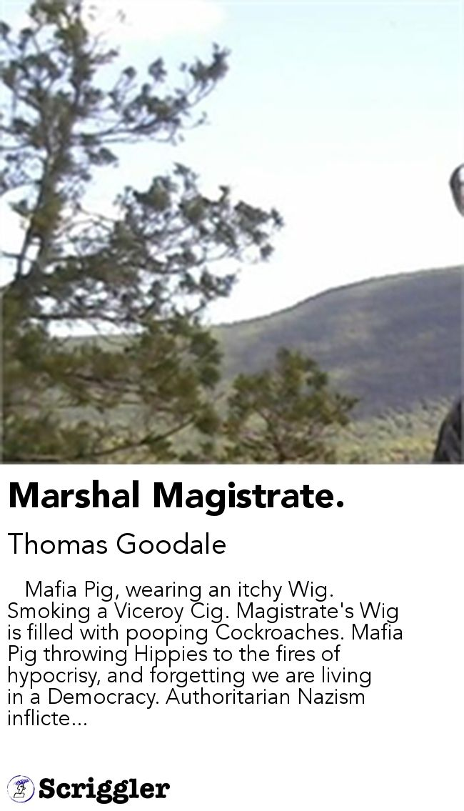 Marshal Magistrate. by Thomas Goodale https://scriggler.com/detailPost/story/64677    Mafia Pig, wearing an itchy Wig. Smoking a Viceroy Cig. Magistrate's Wig is filled with pooping Cockroaches. Mafia Pig throwing Hippies to the fires of hypocrisy, and forgetting we are living in a Democracy. Authoritarian Nazism inflicte...